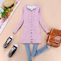 Women's end of a single fashion pink dot medium-long cotton pocket cardigan