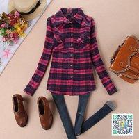 Shirt long-sleeve plaid 100% yemei red cotton women's end of a single
