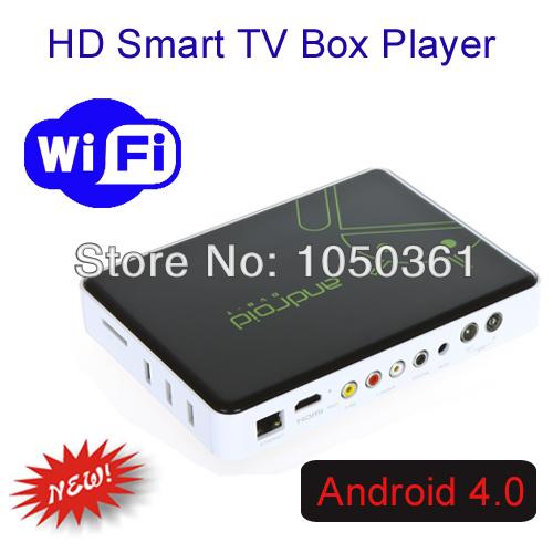 Free Shipping Android 4.0 Cortex A9 HDMI HD 1080P Wifi Internet Mini Smart TV Set-Top Box Media Player(China (Mainland))