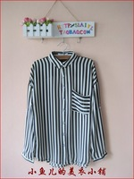 Black and white stripe chiffon turn-down collar low-high roll batwing sleeve shirt navy style
