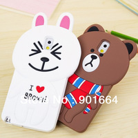 Free Shipping 1pcs/lot 3D Cute Cartoon Cony Rabbit Silicone Back Case Cover for Samsung Galaxy Note 3 Cell Phone