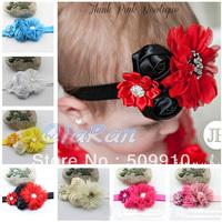 Baby Girl Headbands Rose Flower Toddler Hairband Shabby Flower Headband Infant Hair Bows Hair Accessories 10pcs
