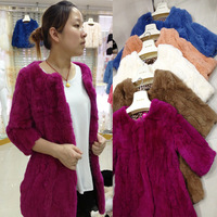 Fur coat 2013 hot-selling rex rabbit hair medium-long o-neck slim  real cony fur Medium style wholesale freeshipping cheap