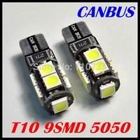 Free Shipping 10pcs/lot t10 5050 led car light Car Canbus LED Lamp Error Free T10 W5W 194 5050 SMD 9 LED White Light Bulbs