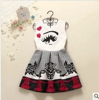 New 2014 Women Vintage summer dress Plus size elegant relievo three-dimensional jacquard tank Print dresses pattern Girl dress
