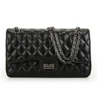Bags 2013 women's female genuine leather handbag black sheepskin dimond plaid messenger bag bags