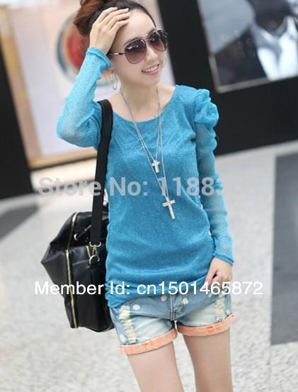 2013 autumn and winter women slim puff sleeve solid color gauze long design basic shirt long-sleeve T-shirt top(China (Mainland))