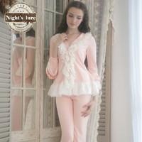 Wire noble chiffon ruffle pink princess lace sleep set lounge sleepwear
