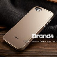 New Arrival Champagne Gold SGP SPIGEN Hard Cover Linear EX Case for iPhone 5 5S with Screen Protector