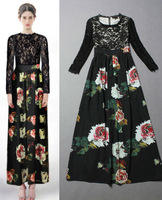 Free Shipping Runway Lace Long Sleeve Vintage Printed Maxi Dress 131230XB01
