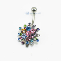 CZ stone navel ring belly button ring body piercing JF13-178 Mix colors