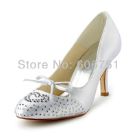 8 cm high heel white wedding shoes for bride bow tie with rhinestone custom satin round toe women fashion pumps fast shipping