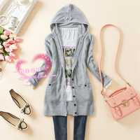 2014 spring new arrival Lday medium-long hooded cardigan casual women's long-sleeve knitted sweater outerwear