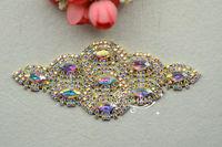 Free shipment  Bridal Sew On Dress Applique Crystal AB  Rhinestone  gold setting Wedding Supply Trim A275