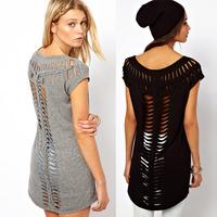 2014 Summer Tops Quality Hollow Out T-shirt For Women Fashion O-Neck Long T-shirt Women XS,S,M,L,XL,XXL