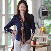 New Spring Women Shirts Female Long Sleeve Shirt Puff Sleeve V-Neck Button Formal Chiffon Blouses Tops Clothing Free Shipping