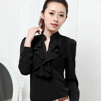 Spring New Arrival Women's V-neck Ruffle Slim Elegant Blouse Female Chiffon Formal Solid Contrast Women Shirt Free Shipping