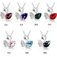 Pendant, silver-plated brass, 24x23mm single-sided swan with crystal mini order 12ps,factory price