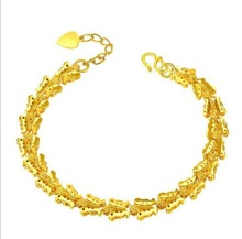 Free Shipping Top Quality CERTIFIED 14K Yellow Gold plated Placer Heart Charm Butterfly Chain Bracelet(China (Mainland))