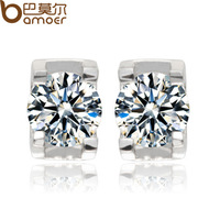 2014 Top Quality Hearts and arrows Zircon Crystal Sterling Silver Stud Earrings Women  Lady Jewelry YIE012