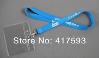 LOGO imprint silk screen polyester neck lanyard,custom cheap discount blue flat plain lanyard with white logo printed neck strap