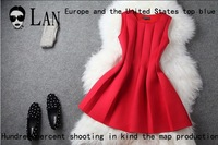 New 2014 Brand Spring Evening Dress Women Luxury Elegant Fashion Sexy Backless Slim Red Sleeveless Puff Tank Dress B198