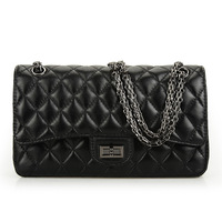 Bags 2013 women's female genuine leather handbag black sheepskin dimond plaid messenger bag bags