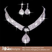 2014 Luxury Crystal Water Drop Shaped Earrings Necklace Jewelry Set wedding Crystal Bridal Jewelry Set Bridal jewelry set