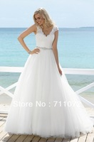 Tulle A Line V Neck Short Sleeves beading Crystle Low Back White Informal Beach Wedding Dress 2014 New Arrival