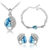 Wholesale white gold plated leaf design crystal jewelry set fashion crystal jewelry make with swarovski elements