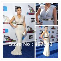 Fashion kim kardashian Long Evening Dresses 2013 Sheath V-neck Oscar Cap Sleeves Red Carpet Celebrity Dress With Free Belt