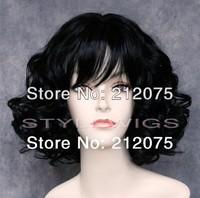 Short Full Volume Heat Safe Wig in Off dark black color