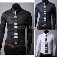 2014 New Men Casual Slim Fit T-shirt Silk Sleeve&Collar Stylish Shirts Korean long sleeve Dress Shirts 3colors