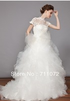 Best Design ball Gown Luxury high Collar Ruffled Tulle Bowknot Romantic Ball Gown Wedding Dresses 2014 With Short Sleeves