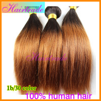 Free shipping rosa Two Tone #1b/#30 Ombre Mongolian virgin hair extensions human hair weave straight 3pcs lot queen hair product