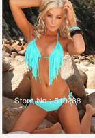 2014 Fashion New Woman's Tassel sexy beach dress bikini cover up swimwear Biquini swimwear Women Bikini 6colors  Free Shipping