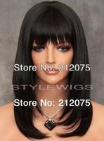 Fashion Medium Wavy Hair  Heat Safe Wig  in Darkest Brown * women wigs*