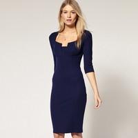 Free shipping Elegant Ladies' Celebrity Pencil Dress Special Collar Slim Knee-Length Party Bodycon Dress Plus Size S M L XL XXL