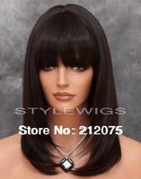 Dark Brown & Auburn Mix Medium  Heat Safe Wig *Fashion women*
