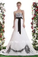 2014 Free Shipping Formal Strapless A Line Chapel Train Organza Embroidery Black And White Corset Wedding Dress With Sash