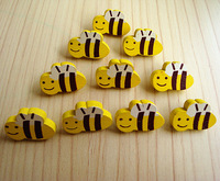 Diy handmade accessories colored drawing - yellow bee wood buttons child clashers 1 3
