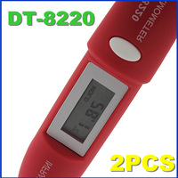 High Quality!! Non-Contact Digital Infrared Temperature Mini Pocket IR Thermometer Pen +Battery Red  2PCS Register Freeshipping