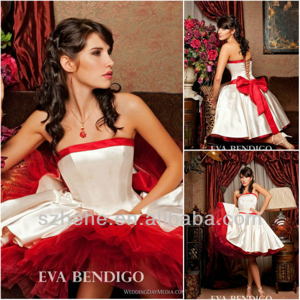Free shipping cw1364 vintage pretty strapless ball gown for Short red and white wedding dresses