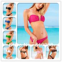 Hot Sale Fashion Woman's Sexy V low-cut thoracotomy swimsuit  Bikinis set  beach dress Sexy Biquini swimwear Bikini Bra set