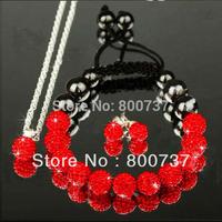 new shamballa set red shambala pendant+bracelet+stud earrings girls jewelry set 2014 shamballa jewellery set  gift free shipping