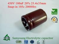 2013 New 180uF 450V 20% 25.4X35mm Snap-in 10mm 1010mA 2000h 105C RoHs Aluminum Electrolytic Capacitors 100pcs/Box Stock