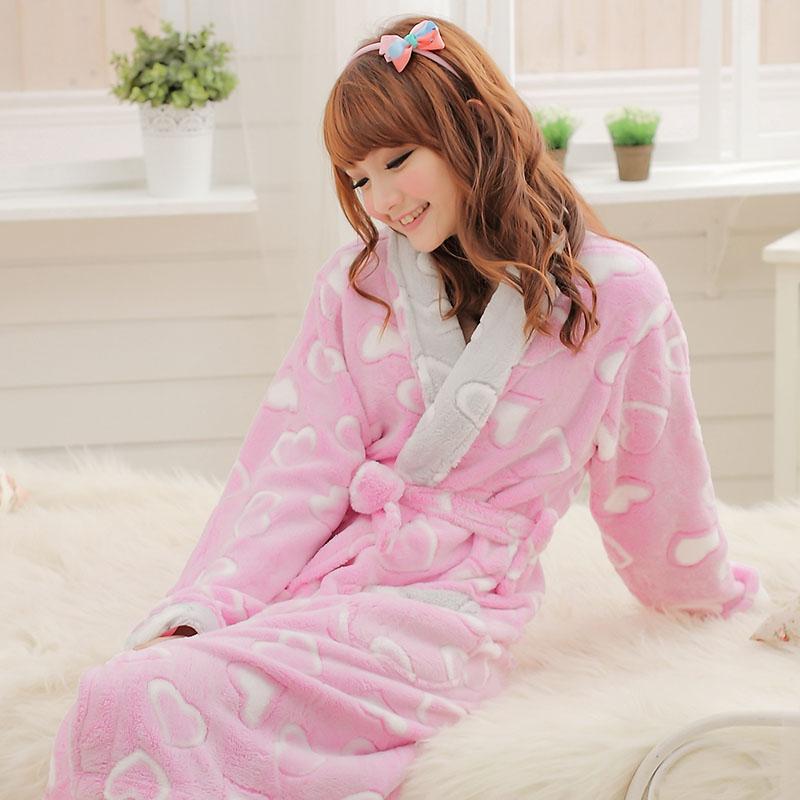 free shipping Thickening coral fleece robe coral fleece bathrobe spring and autumn sleepwear love paragraph robes(China (Mainland))