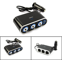 Car Charger 3 Way car splitter with USB port, input 12/24V with Switch