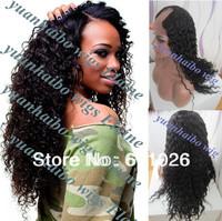 """Hot Fashion U Part Wigs 24""""#1b virgin brazilian kinky curly u part lace front wigs for black women free shipping"""