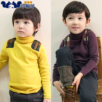 2013 children's autumn and winter clothing plaid turtleneck child baby male child basic shirt long-sleeve T-shirt 5293